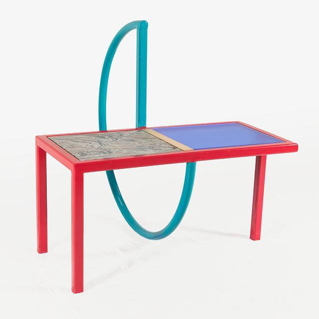 Przemek Pyszczek, 'Przemek Pyszczek, Table with Teal Ring, CA, 2019', 2019, Sculpture, Painted steel, brass, acrylic, Corian, Todd Merrill Studio