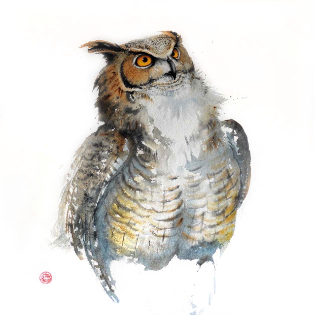 , 'Great Horned Owl,' , Cricket Fine Art