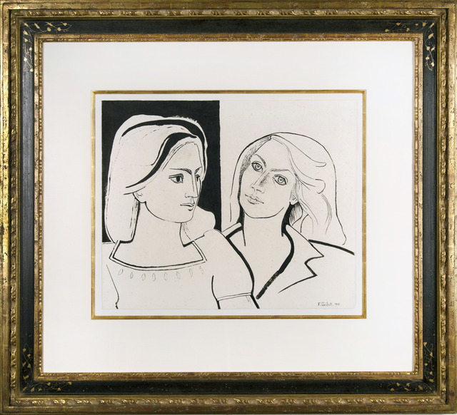 Françoise Gilot, 'The Two Friends III (Geneviève and Françoise)', 1942, Drawing, Collage or other Work on Paper, Pen, black ink and wash on handmade paper, Galerie Michael