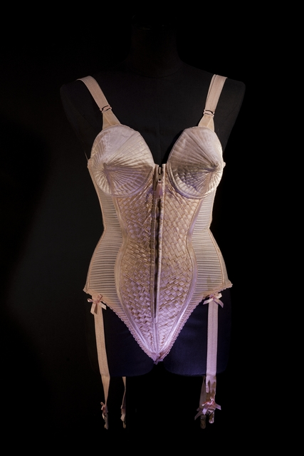 ", 'Corset-style body suit with garters, worn by Madonna during the ""Metropolis"" (""Express Yourself"") sequence of the Blond Ambition World Tour,' 1990, Brooklyn Museum"