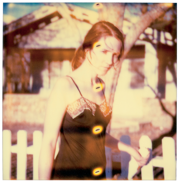 Stefanie Schneider, 'Girl at Fence', 2005, Photography, Analog C-Print, enlarged and handprinted by the artist on Archive Fuji Chrystal Paper,  based on a Stefanie Schneider expired Polaroid photograph, mounted on Aluminum with matte UV-Protection, Instantdreams
