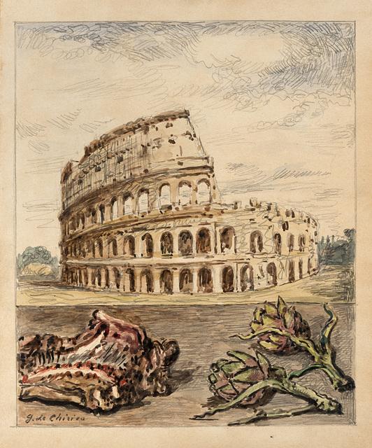 Giorgio de Chirico, 'Veduta di Roma con abbacchio e carciofi', 1966, Il Ponte