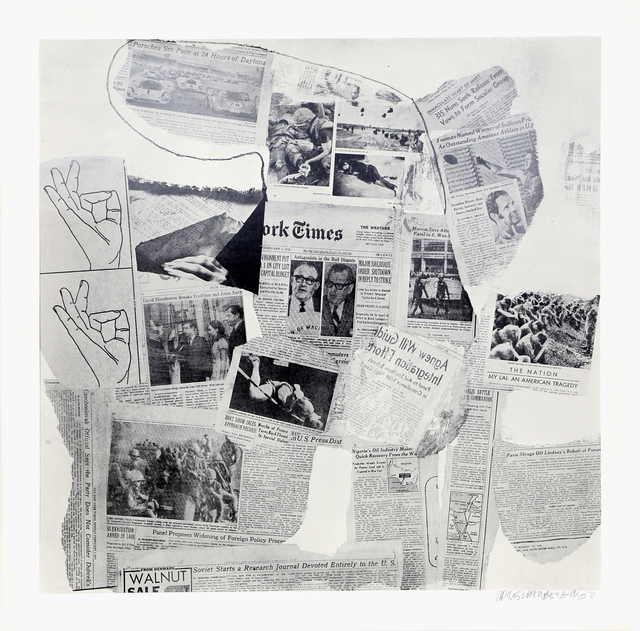 Robert Rauschenberg, 'Features from Currents #74', 1970, Print, Hand-Printed Silkscreen on Aqua B 844 Paper, RoGallery