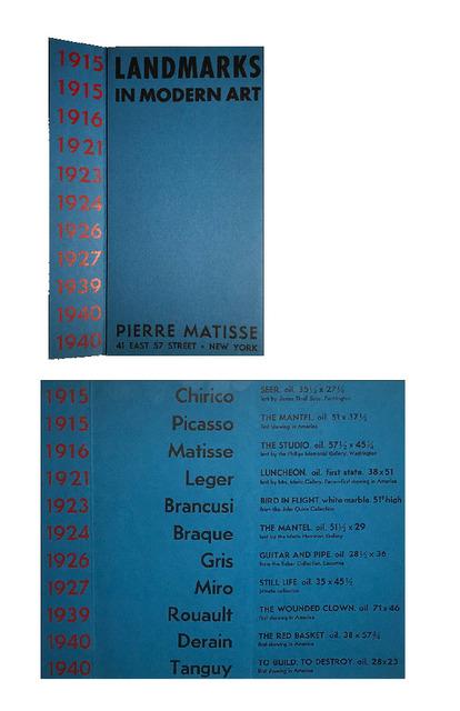 "Henri Matisse, '""Landmarks in Modern Art"", 1940-41, group exhibition announcement, Pierre Matisse Gallery NYC (PICASSO's FIRST SHOWING IN AMERICA)', 1940-41, Ephemera or Merchandise, Lithograph on paper, VINCE fine arts/ephemera"