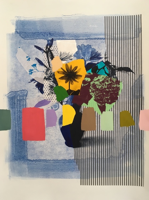 , 'Indigo Bouquet (gold flower + stripes),' 2018, Kahn Gallery