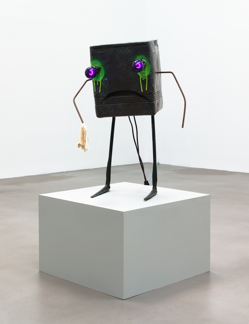 Jon Pylypchuk, 'Nowadays my nights are poker, booze, and crying', 2010/2015, Sculpture, Painted bronze, light bulbs, rag on painted pedestal, Petzel Gallery