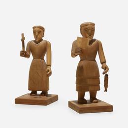 Santos figures, pair