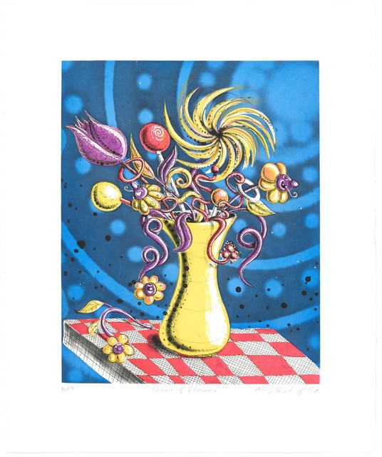 Kenny Scharf, 'Towers of Flowers', 2001, Print, 5 run, 5-color intaglio (aquatint and line etching with spit-bite aquatint, engraving, roulette work)., Frank Fluegel Gallery