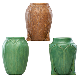 Three vases with leaves and buds, brown and green glazes
