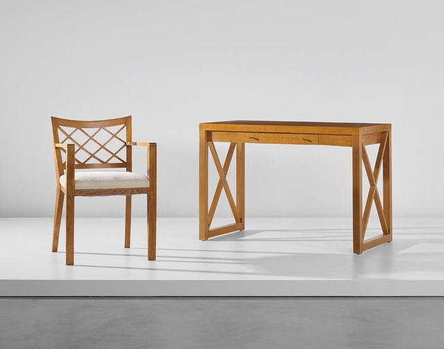 Jean Royère, ''Croisillon' desk and armchair', circa 1955, Phillips