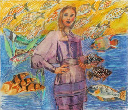 , 'First Version: Fashion and the Fish (Study),' 1996, 101/EXHIBIT