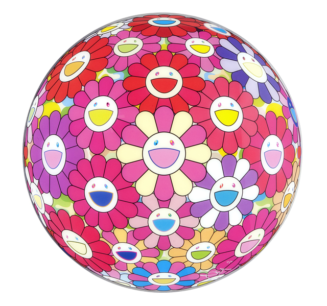 "Takashi Murakami, 'Flower Ball 3D Groping for the truth (""Paint it Red"" project)', 2013, Gallery Delaive"