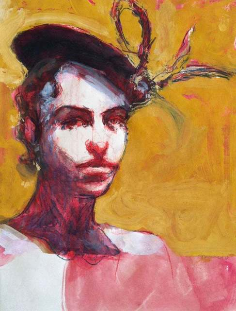 , 'Talia in Fruitvale / woman with hat, red and gold drawing painting ,' 2010, Andra Norris Gallery