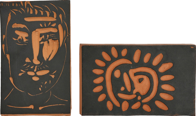 Pablo Picasso, 'Visage d'homme (Man's Face); and Petite soleil (Little Sun)', 1966; and 1968-69, Design/Decorative Art, Two red earthenware plaques, with painting in black., Phillips