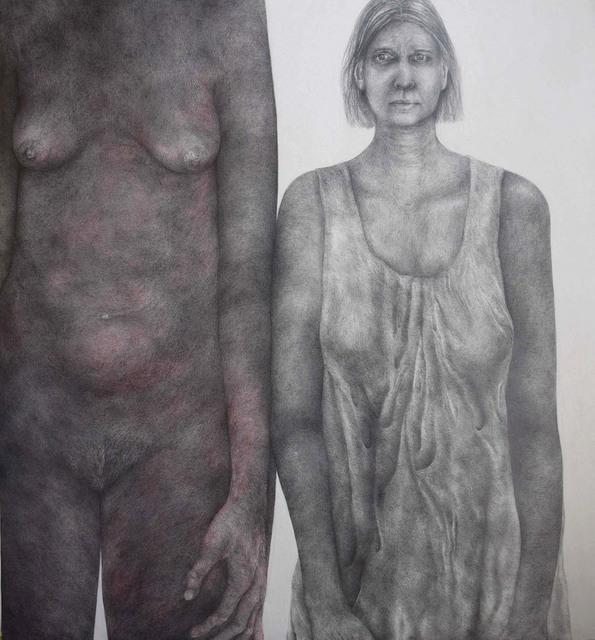 Diana Quinby, 'Autoportrait double avec rouge', 2019, Drawing, Collage or other Work on Paper, Crayon graphite et crayon de couleur sur papier, Galerie Arnaud Lefebvre
