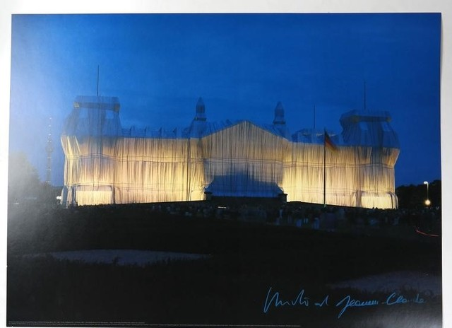 """Christo and Jeanne-Claude, '""""Wrapped Reichstag"""" Project, SIGNED, Offset Color Lithographic Poster LARGE', 1995, Print, Color Lithographic on Semi-Gloss Paper, VINCE fine arts/ephemera"""