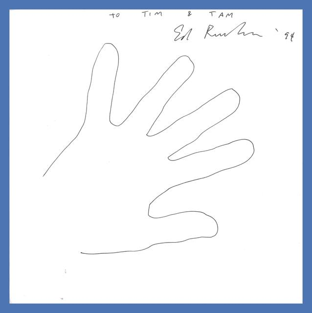 , 'Untitled (The Artist's Hand), Original signed drawing dedicated to Tim Hunt (former agent for the Warhol Foundation) and his wife Tama Janowitz (bestselling author) ,' 1994, Alpha 137 Gallery