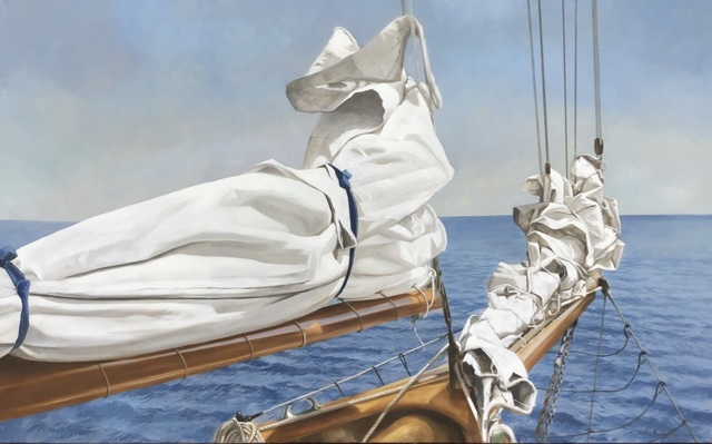 ", '""Tied and True"" oil painting of a folded sail and bow with blue ocean behind,' 2019, Eisenhauer Gallery"