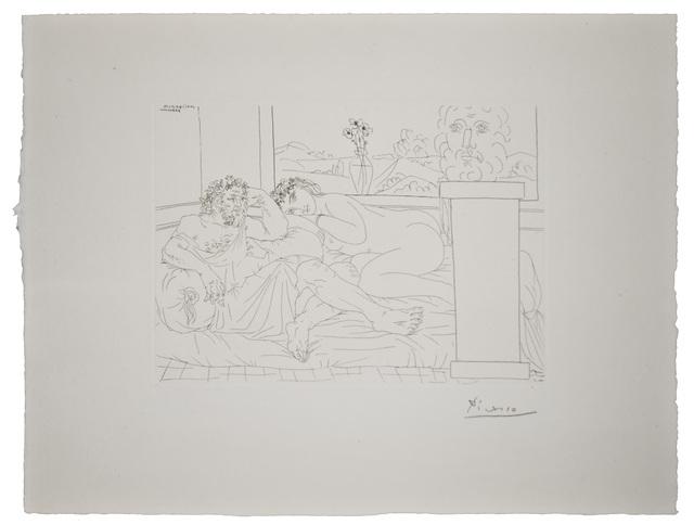 Pablo Picasso, 'Vieux Sculpteur Grec avec  Modèle, Vase aux trois Anémones et Autoportrait sculpté', 1933 (April 4-Paris), Print, Etching, John Szoke