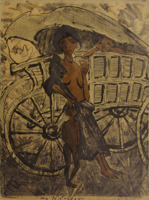 , 'Gypsy with Child in Front of Covered Wagon,' 1926-1927, Galerie St. Etienne