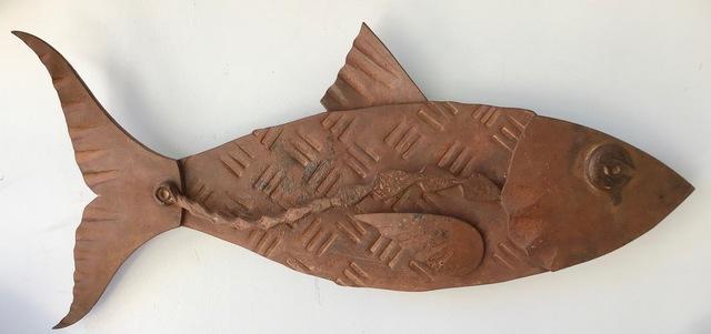 "Hugh Holborn, '""Albulidae #1"" forged salvage steel fish wall sculpture', 2019, Eisenhauer Gallery"