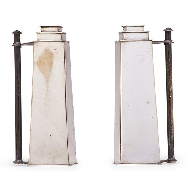 Louis W. Rice, 'Two Skyscraper Candlesticks From The Apollo Studio Line, New York', 1920s, Rago/Wright