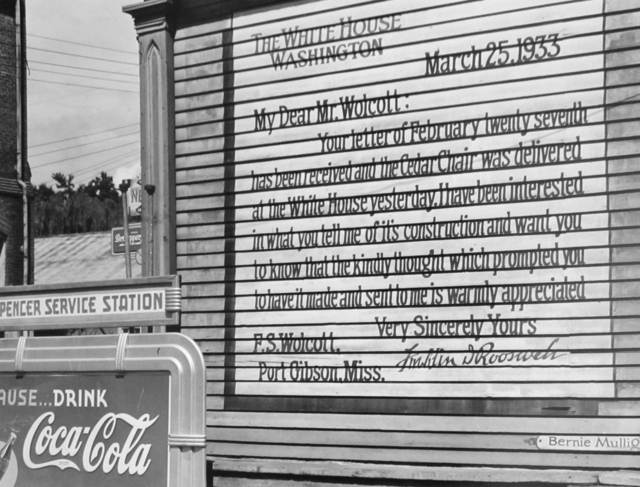 , 'Facsimile of a letter written by President Roosevelt to a resident painted on the side of a building. Port Gibson, Mississippi,' 1940, G. Gibson Gallery