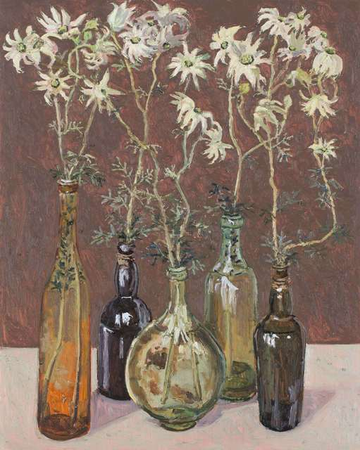 , 'Flannel flowers, glass bottles,' 2018, Jan Murphy Gallery