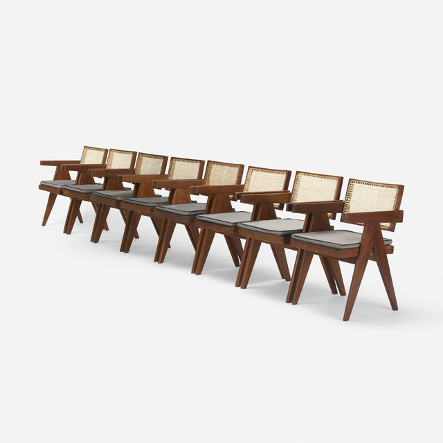 Pierre Jeanneret, 'Armchairs from Chandigarh, Set of Eight', c. 1955, Wright