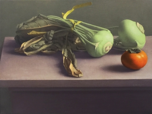 , 'Still Life with Kohlrabi and Persimmon,' 2014, Clark Gallery