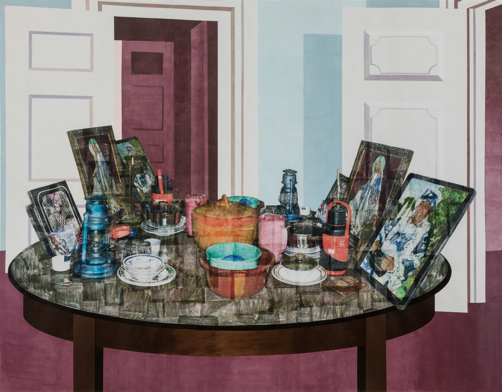 Njideka Akunyili Crosby, Mama, Mummy and Mamma (Predecessors #2), 2014, acrylic, color pencils, charcoal, and transfers on paper, 84 x 108 inches, courtesy the New Church Museum, Cape Town, South Africa