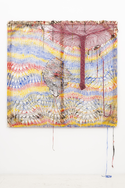 Channing Hansen, 'Polytope Soap', 2013, Mixed Media, Handspun and dyed Merino, Corriedale, Cheviot, holographic polymers Romney, and Teeswater Locks, yak down, silk noils, commercial thread, cotton, viscose, polyamide, and cedar, Hammer Museum