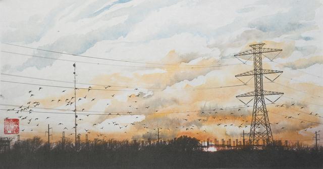 , 'Cloudscape, Migratory Birds and Power Lines,' 2015, Foto Relevance