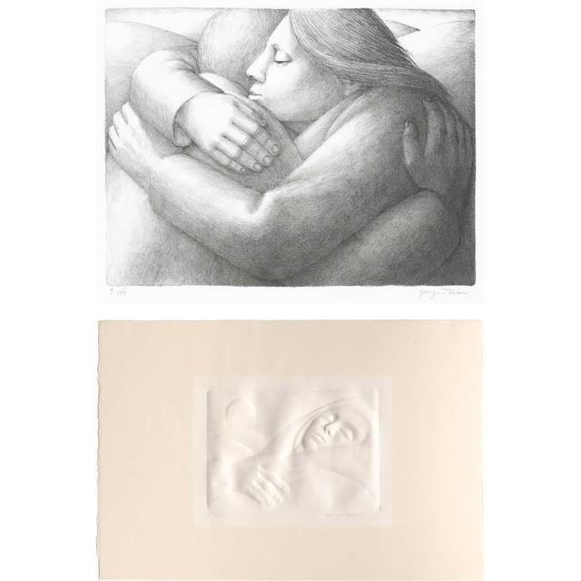 George Tooker, 'REPOSE; EMBRACE', 1975 and 1982, Print, Lithograph and an embossing, Doyle