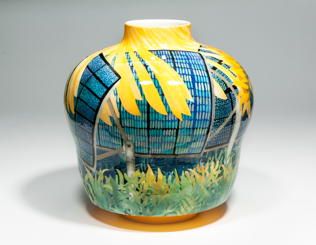 John Newdigate, 'Sunlight Falling on Solar Panels and A Sunflower', 2019-2020, Design/Decorative Art, Hand Painted, Glazed Porcelain, EBONY/CURATED