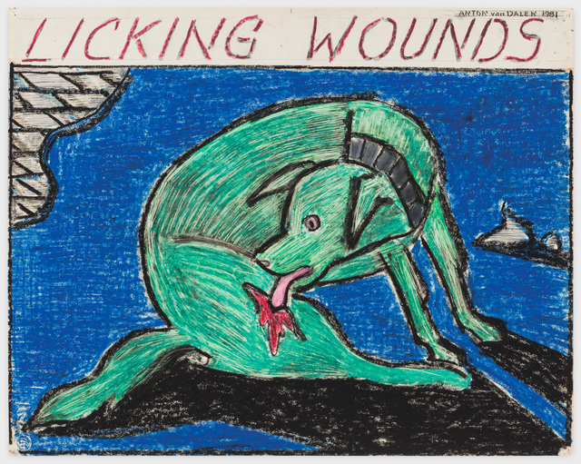 , 'Licking Wounds (green dog, blue background),' 1981, P.P.O.W