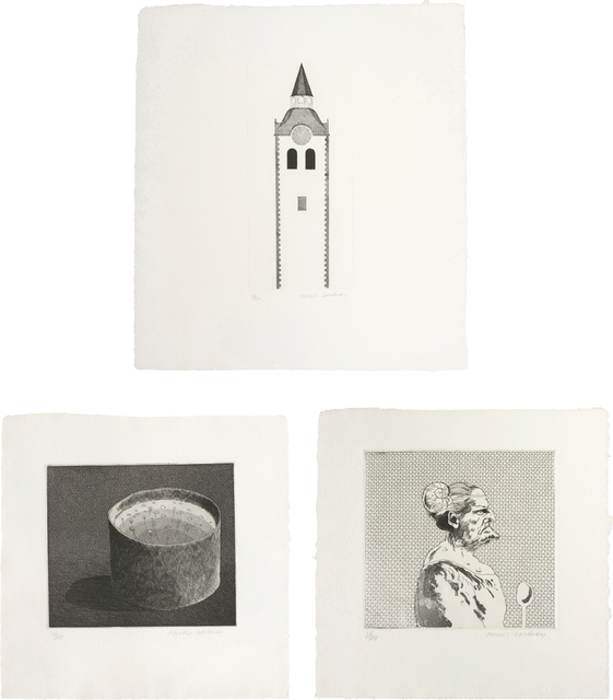 David Hockney, 'The Church Tower and the Clock, The Pot Boiling; and The Cook; plates 10, 8 and 7 from Illustrations for Six Fairy Tales from the Brothers Grimm', 1969, Phillips