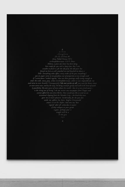 , 'Cartas de Kafka (Milena Jesenska),' 2018, Galería OMR