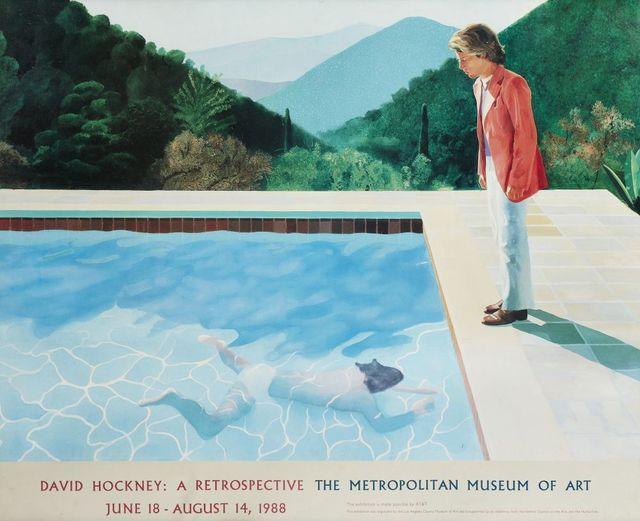 After David Hockney, 'Exhibition poster for 'David Hockney: A Retrospective, The Metropolitan Museum of Art, June 18-August 14', 1988, Roseberys