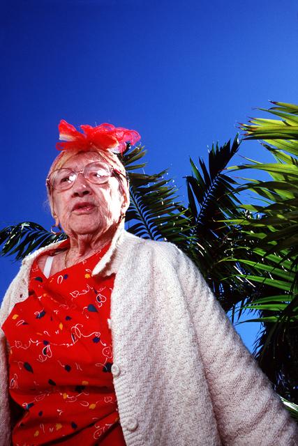 Naomi Harris, 'Frieda in Front of Palms, Haddon Hall Hotel, Miami Beach, FL', 1999, Circuit Gallery