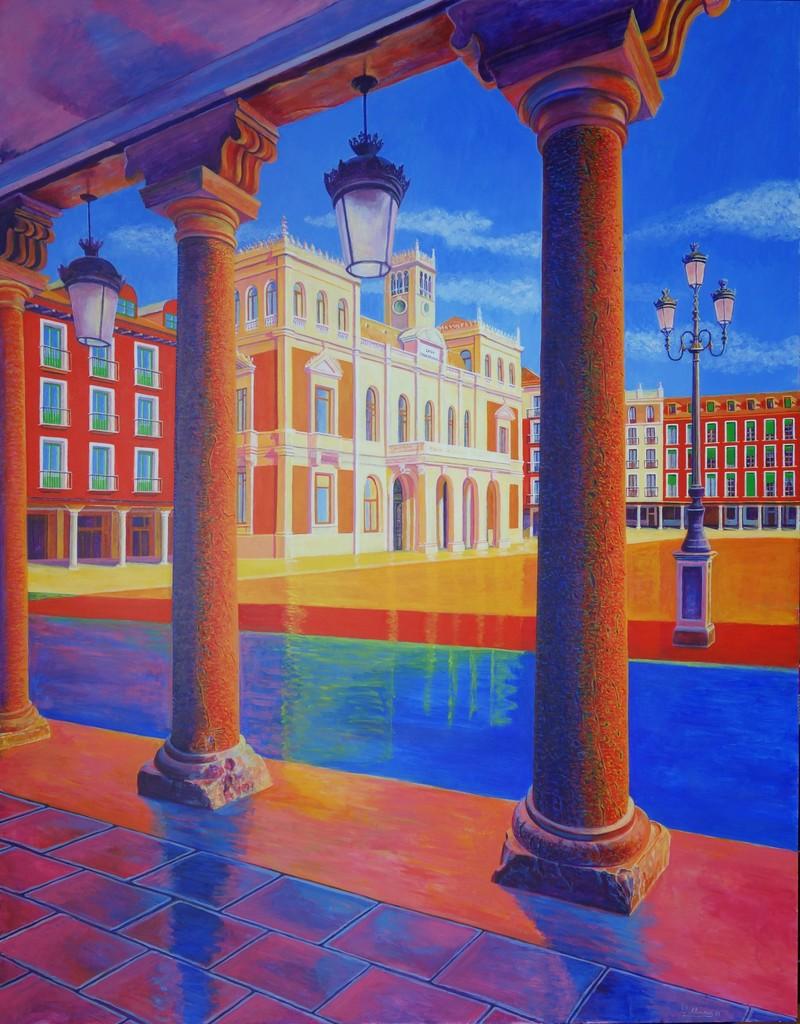 Plaza Mayor/Main Square (Valladolid). Year 2018. Acrylic on panel. 130 x 100 cm/51,2¨ x 29,5¨. Artist: Conchi Alvarez