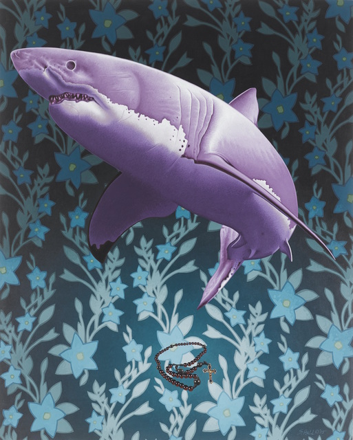 Stephen Hall, 'Painting of whale with prayer beads: 'Let Us Prey'', 2015, Ivy Brown Gallery