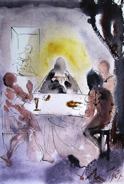 Salvador Dalí, 'And They Recognized Him In The Breaking Of The Bread', 1967, Print, Original colored lithograph on heavy rag paper, Baterbys