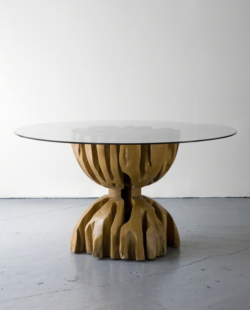 Root table with glass top