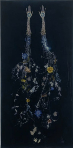 Valerie Hammond, 'Sisters II', 2019, Drawing, Collage or other Work on Paper, Pigment, encaustic, color pencil, graphite, glass beads and thread on Japanese paper, Leila Heller Gallery