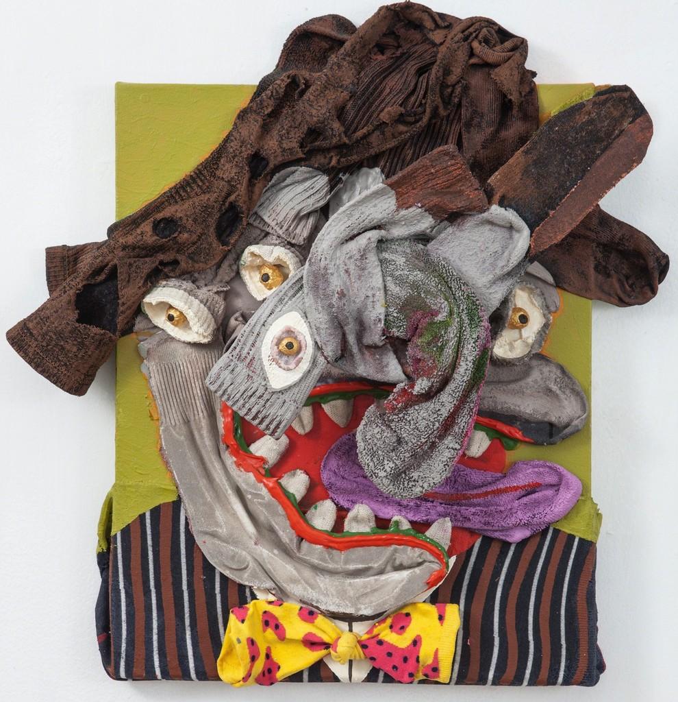 "Mosquetero, 2015 Acrylic and socks on linen 22 x 21"""