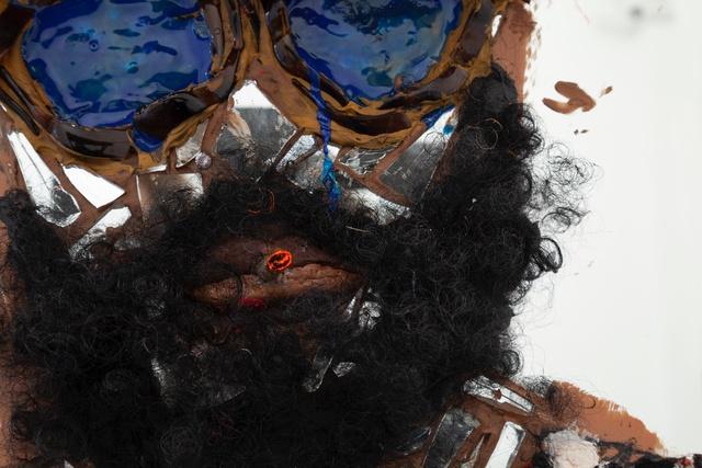 Aaron Fowler, 'Jesus', 2019, Painting, Acrylic paint, liquid nail, broken hair clamps, fake diamond, spliff, fro ponytail, broken mirror, cotton balls, djellaba, clay and Jesus hat on medicine cabinet, M+B