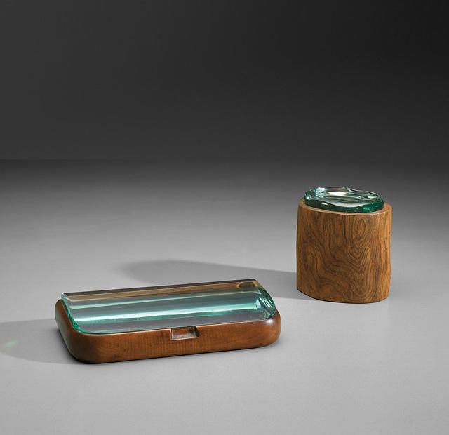 Pietro Chiesa, 'Tobacco box and cigarette box, model no. 1137', circa 1938, Design/Decorative Art, Walnut, Brazilian rosewood, glass., Phillips