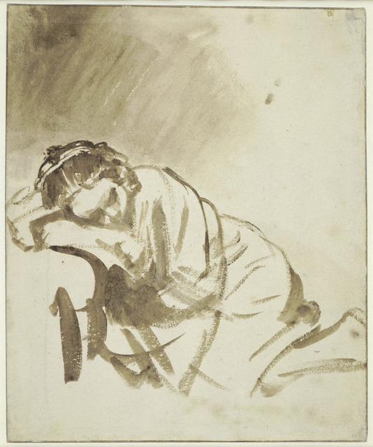 , 'A young Woman sleeping (Hendrickje Stoffels),' about 1654, The National Gallery, London