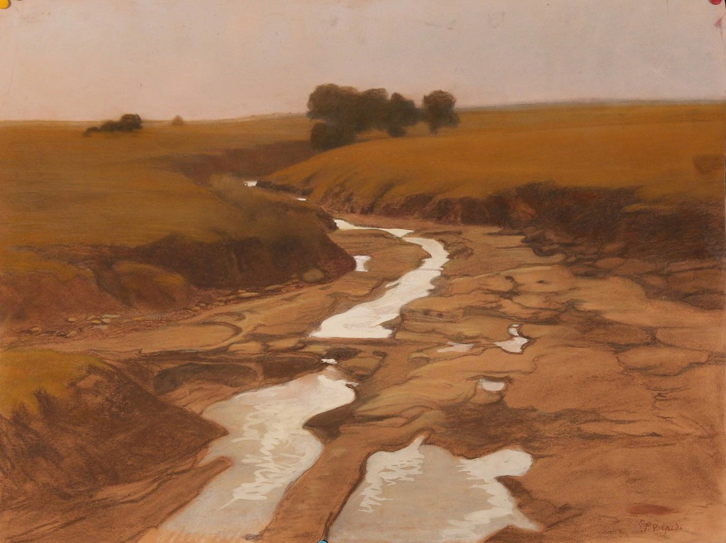 Giuseppe Pelizza da Volpedo 'Landscape', signed and dated 1900, mixed media, 62x48